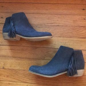 Justice Grey suede fringe booties size 5